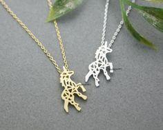 necklace,Jewelry,cute,Charm,Origami,zoo,unicorn,Unicorn necklace,horse jewelry,silver horse charm,unicorn pendant,simple silhouette,nature animal,Animal silhouette  Adorable and Unique Beautiful Unico