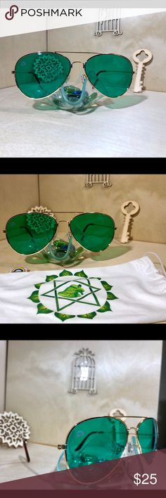 c1d03ea8a34d Green Aviator Sunglasses Rainbow Optx. colored Aviator Sunglasses. New.  Comes with sleeve.