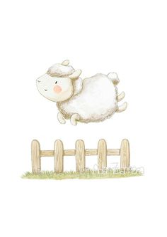 Nursery Art SHEEP JUMPING Art Print, Nursery Illustration.  Jumps high, little sheep!  Its a reproduction of my original illustration printed with detailed on special watercolor paper 300 g. honed natural white, acid-free and 100% cellulose, gives appearance of original painting Watermark will not appear on purchased print. VERTICAL printing.  All print is hand signed by me.  Prints comes packaged in a protective cello sleeve and shipped in a resistant mailing tube.  Each monitor or screen…