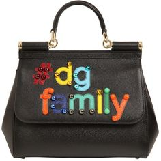 Dolce & Gabbana Women Medium Sicily Dg Family Leather Bag featuring polyvore, women's fashion, bags, handbags, shoulder bags, black, dolce gabbana shoulder bag, studded leather handbag, genuine leather purse, leather shoulder handbags and genuine leather handbags