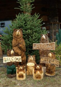 Hand carved wood welcome bears and stump bears