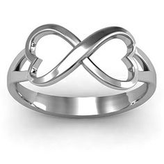 Simple Double Heart Infinity Ring #jewlr. Can get it with birthstones. Engrave wedding date   Looks like our anniversary gift