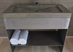 Ett snyggt tvättställ eller handfat i betong ger en modern och stilren känsla till ditt våtrum.  Produkt: weber rep 931 Pumpbetong