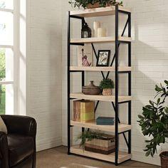 Renate Graphite Grey Wood And Metal Shelving Bookcase Metals