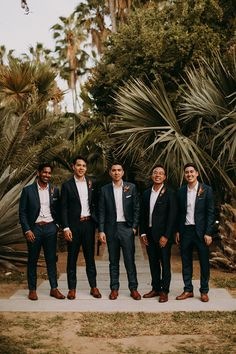 This destination wedding in a Mexican mango orchard will take your breath away! With geometric decor, colorful confetti cannons, and a dramatically textured bouquet you will find yourself falling in love! Groomsmen Attire Black, Mismatched Groomsmen, Groom And Groomsmen Attire, Bridesmaids And Groomsmen, Groomsmen Attire Beach Wedding, Groomsmen Suspenders, Groomsmen Outfits, Boho Wedding, Dream Wedding