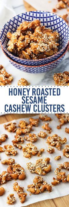 Honey Roasted Sesame Cashew Clusters are a naturally-sweetened, healthy snack of honey-covered cashews roasted with kosher salt and sesame seeds. Just 4 ingredients needed for this easy snack.
