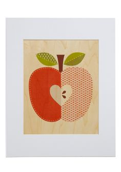 Amour-chard Print in Apple 14 x 11 $24.99 Flourishing with a petite heart at its core, this adorable red apple combines a vibrant palette and a variety of timeless patterns, composed on a veneer of sustainably harvested wood. Surrounded by a bright white mat that makes it simple to frame, this delectable design 'wood' earn a bushel of charming compliments. - Your the apple of my eye Valentine!