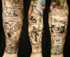 comic strip sleeve tattoo