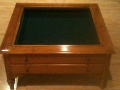 Unfinished Curio Coffee Table 3 Drawers 35X35 Solid Wood square
