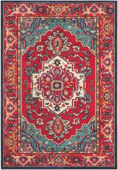Free-spirited and vibrantly colored, Monaco Collection rugs bring Bohemian-chic flair to folkloric and formal Persian designs. A mix of high and low loop pile is power-loomed of long-wearing polypropylene in classic textures and trendy erased-weave looks. Living Room Turquoise, Living Room Red, Turquoise Kitchen, Condo Living, Turquoise Rouge, Red And Teal, Classic Rugs, Rugs Usa, Discount Rugs