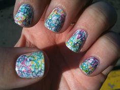 Rainbow drizzle nail art