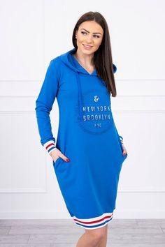 Modré športové šaty s kapucňou Brooklyn, Cold Shoulder Dress, Sleeves, Cotton, How To Wear, Blue, Dresses, Products, Fashion