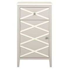 "Cabinet with a crisscross motif.   Product: CabinetConstruction Material: PoplarColor: Grey and whiteDimensions: 33.4"" H x 18"" W x 14.9"" DCleaning and Care: Professional cleaning recommended"