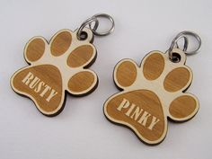 Engraved Pet ID Tag  Wood Paw Dog Collar Charm Laser by Cropscotch