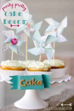 party pretty cake decor- dress up cupcakes with adorable easy and simple pinwheel toppers and a cute cake plate banner