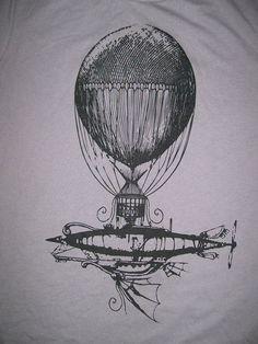 Victorian Steampunk Airship Hot Air Balloon T Shirt (Post Apocalyptic ...