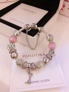 50% OFF!!! $379 Pandora Charm Bracelet Pink White. Hot Sale!!! SKU: CB01748 - PANDORA Bracelet Ideas