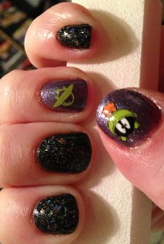 Marvin the Martian! Nail stamping art