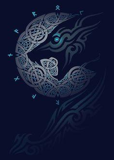 Ragnarok Moon Graphic Hoodie by Raidho - Unisex Pullover Black - MEDIUM - Front Print - Pullover Fenrir Tattoo, Norse Tattoo, Viking Tattoos, Caveira Mexicana Tattoo, Viking Wallpaper, Arte Assassins Creed, Celtic Patterns, Viking Symbols, Tatoo Art