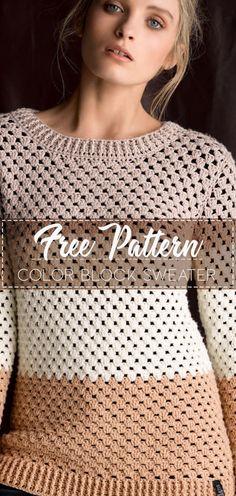 Color Block Sweater – Free Crochet Pattern – Crochet Love Moda Crochet, Pull Crochet, Crochet Diy, Crochet Woman, Crochet Style, Crochet Tops, Crochet Braids, Crochet Ideas, Bonnet Crochet