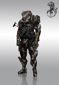 Concept art from Mass Effect 3. Shepard's looking like a tough customer.