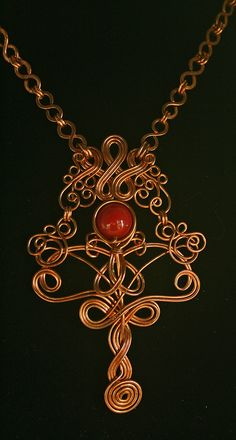 Copper Wire Necklace with Vintage Maroon by MysticMetalDesigns, $125.00