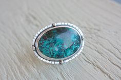 Compass Azurite & Turquoise Ring Sterling Silver Huge Cocktail Ring Size 8,5 Silversmithed Metalsmithed