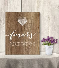 Favors, Please Take One // Wedding Favor Sign DIY // Rustic Wood Sign, White Calligraphy Printable PDF, Rustic Poster ▷ Instant Download