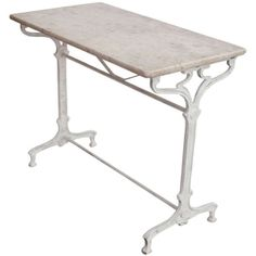 French Art Nouveau Forged Iron Bistro Table Marble Tables, Attic Apartment, Saturated Color, French Art, Decorating On A Budget, Vanity Bench, Art Nouveau, Iron, Furniture