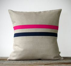 Hot Pink and Navy Striped Pillow - 16x16 - Modern Home Decor by JillianReneDecor - Colorful Colorblock Stripes (More Colors)