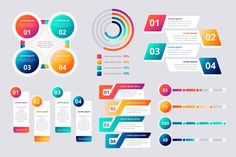 Colorful gradient infographic elements F. Infographic Examples, Infographic Templates, Infographics Design, Health Infographics, Free Illustration, Illustrations, Creative Flyer Design, Creative Flyers, Element Chart