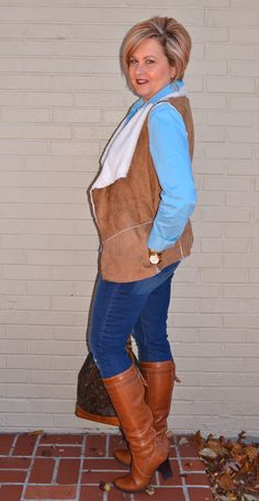 Fashion Over 40  Shearling Vest @50isnotold.com