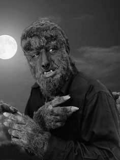 """Even a man who is pure in heart and says his prayers by night may become a wolf when the wolfbane blooms and the autumn moon is bright."" The Wolfman Lon Chaney Jr. in fur-tastic makeup by Jack Pierce Classic Monster Movies, Classic Horror Movies, Classic Monsters, Classic Films, Retro Horror, Vintage Horror, Horror Art, Horror Monsters, Scary Monsters"