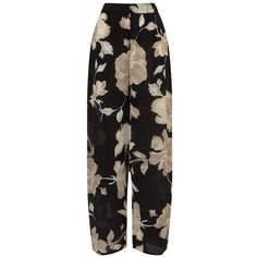 East English Rose Silk Palazzo Trousers, Black ($215) ❤ liked on Polyvore featuring pants, evening pants, elastic waist pants, wide-leg trousers, wide-leg pants and silk wide leg pants