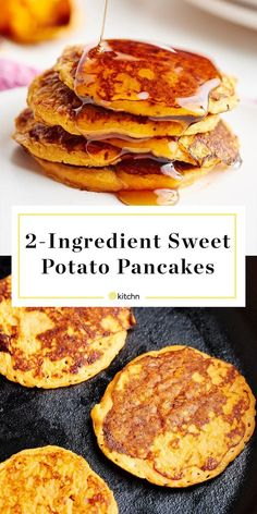 These Sweet Potato Pancakes couldn't be easier! The trick is to… These Sweet Potato Pancakes couldn't be easier! The trick is to toss the sweet potato and egg into your blender and then cook on a hot pan. Brunch or breakfast is ready in minutes. Baby Food Recipes, Diet Recipes, Vegan Recipes, Cooking Recipes, Vegan Sweet Potato Recipes, Sweat Potato Recipes, Recipes With Sweet Potatoes, Gluten Free Recipes For Kids, Mashed Sweet Potatoes