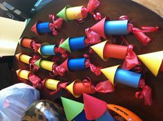 Rocket ship party favors from Owen's Birthday Little Man Birthday, 1st Boy Birthday, 4th Birthday Parties, Rocket Ship Party, Outer Space Party, Moon Party, Valentine Crafts For Kids, Star Wars Party, Mickey Mouse Birthday