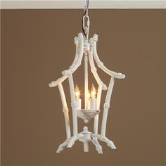 (Painted gold or red or a dark shade of pink) Bamboo Lantern - White In the forever popular bamboo motif, this white metal lantern goes from traditional to hip Lantern Lights, Bamboo Lantern, Bamboo Chandelier, Faux Bamboo, Lantern Chandelier, Metal Lanterns, Asian Pendant Lighting, Bamboo Light, Ceiling Lights