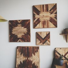 WE love these wood wall panels made by Brooklyn based artist, Ariele.