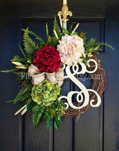 NEW ITEM  Front Door Wreath Summer Wreath for by FleursDeLaVie