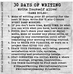 30 Days of Writing - Game Rules | #writeeverydamnday | andreabalt.com