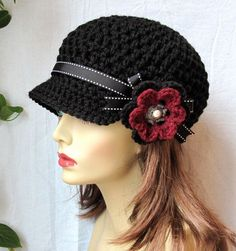 Valentines Hat Womens Hat Black Newsboy by JadeExpressions on Etsy Hand Crochet, Knit Crochet, Valentine Hats, Crochet Hats For Boys, Cotton Hat, News Boy Hat, Cute Hats, Black Ribbon, Crochet Flowers