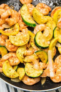 Easy Shrimp Zucchini Squash Skillet - loaded with flavor! This Easy Shrimp Zucchini Squash Skillet recipe is loaded with veggies, flavorful spices, and shrimp. It's a low-carb, gluten-free, and Paleo one-pan meal that is ready in less than 30 minutes. Fish Recipes, Seafood Recipes, Paleo Recipes, Cooking Recipes, Dinner Recipes, Paleo Food, Zuchini And Squash Recipes, Healthy Zucchini Recipes, Recipes