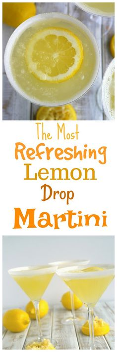 The Most Refreshing Lemon Drop Martini Fancy Drinks, Cold Drinks, Summer Drinks, Beverages, Refreshing Cocktails, Non Alcoholic Drinks, Holiday Cocktails, Fun Cocktails, Cocktail Drinks