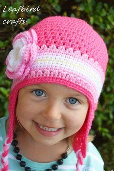 Handmade Crochet hat for girls toddler hat by Leafbirdcrafts