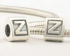 CLLE02-Z 925 Sterling Silver Triangle Alphabet letter Z Pandora Charms beads Pandora Letters