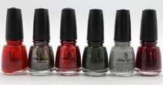 I have cranberry splash (3rd fm left) and glistening snow (2nd fm right) on my nails - LOVE THEM