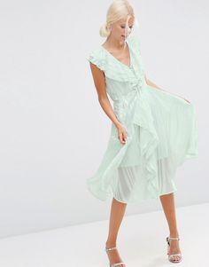 ASOS | ASOS Ruffle Self Stripe Zip Front Midi Dress at ASOS