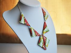 Unique reversible handmade necklace recycled from crisp packets. Quirky, light, upcycled, ... £15