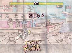 Street Fight Video Game Art For Sale @ https://www.etsy.com/listing/215179376/original-18x24-classic-street-fighter?ref=listing-shop-header-0