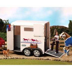 Breyer horses travel in style with the Breyer Traditional Two-Horse Trailer. Fit's perfectly with the Breyer Dually Truck. Two Horses, Types Of Horses, Equestrian Outfits, Equestrian Style, Horse Barns, Horse Tack, Fifth Wheel Trailers, Dually Trucks, Horse Trailers